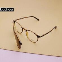 Bauhaus Magneet Brillen Volledige Velg Optische Frame Prescription Spektakel Ronde Vintage Bijziendheid Polarisatie Zonnebril Anti Glare