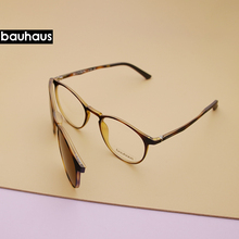 bauhaus Magnet Eyeglasses Full Rim Optical Frame Prescription Spectacle Round Vintage Myopia polarization Sunglasses Anti Glare