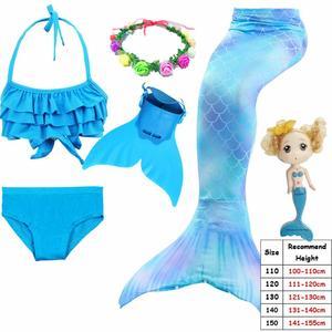 Image 4 - Cinessd 2019 ילדים Swimmable בת ים זנב עבור בנות שחייה חליפת Bating בת ים תלבושות בגד ים יכול להוסיף מונופין סנפיר