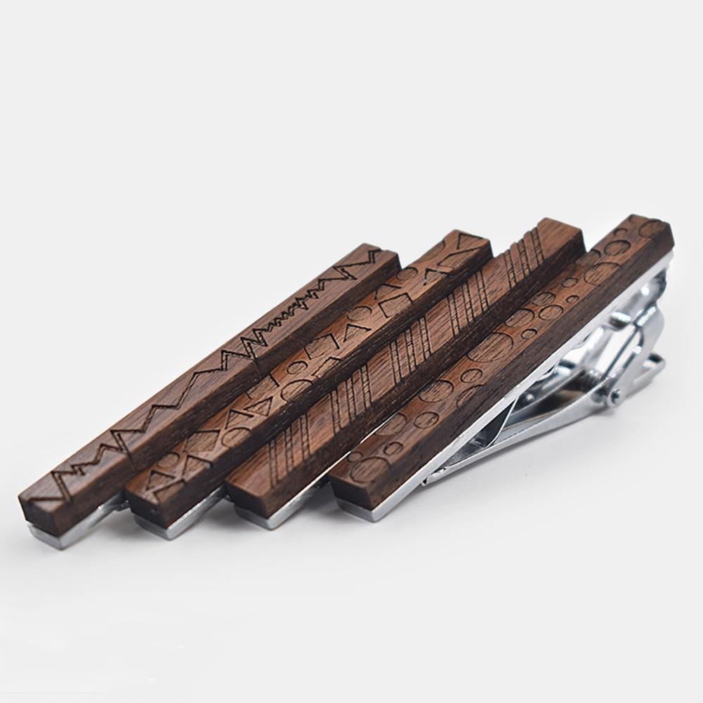 Novelty Personality Geometric Pattern Wooden Tie Clip Walnut Wood Tie Knot Tie Accessory Men Wedding Business Necktie Clasp