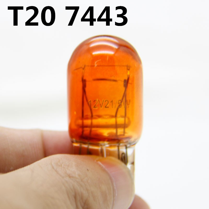 10 pcs T20 7440 7443 21/5W Amber Glass halogen lamps WY21W W21W Brake Bulbs Stop Light Side light Turn Signal Lamp 12v image