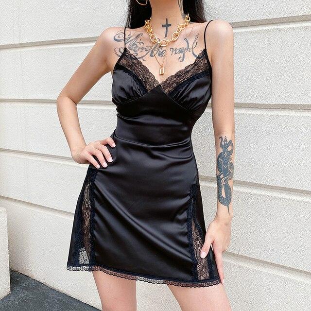 Darlingaga V Neck Satin Strap Sexy Black Dress Women Lace Patchwork Backless Summer Dress Mini Side Split Ladies Dresses Fashion 4