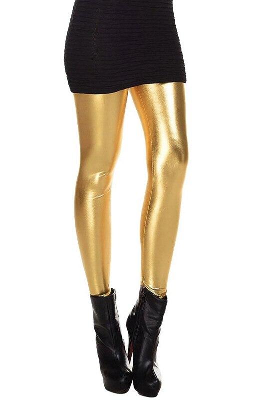 Metallic Wet Look Liquid Leggings Shiny Stretch Women Pencil Pants(gold)