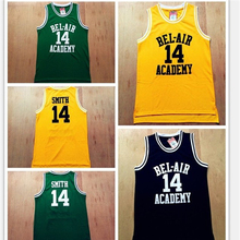 Black Yellow Green Mens T Shirt Vest College Jersey NO.14 Bel-Air Academy Basketball Jersey NO.25 Carlton Bank  Movie Will Smit