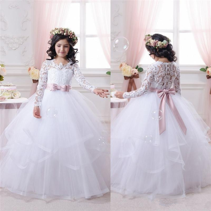 White Flower Girl Dresses For Weddings Lace Long Sleeve Ball Gown Girls Pageant Dresses First Communion Dress For Little Girls