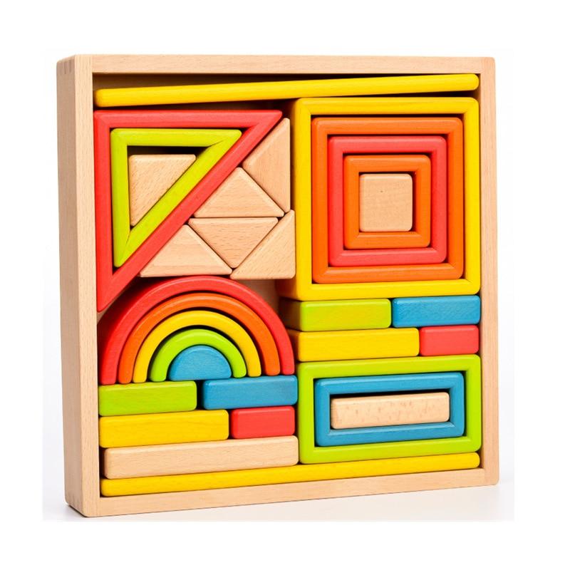Деревянные пустотелые строительные блоки для матери и принца, пустотелые детские головоломки, креативные сборные игрушки, Большие твердые ... - 5