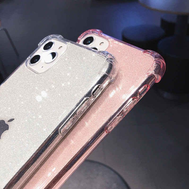 Lovebay iphone 11 pro x xr xs最大se 2020 8 7 6 6sプラス電話ケースキラキラ耐衝撃透明な固体ソフトtpuバックカバー