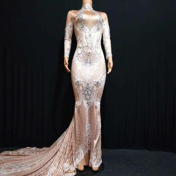 Female Skinny Long Sleeves Rhinestone Party Evening Dress Sexy Women Trumpet Elegant Slim Performance Stage Costumes