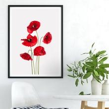 Настенная живопись на холсте минималистичный красный цветок