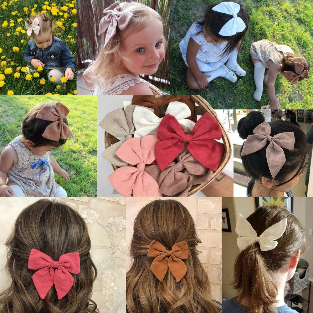 Amazing Linen Fabric Bows Boutique Hair Bow Hair Clips Sailor Bows Hair Barrettes Baby Girls Women Hair Accessories Headwear