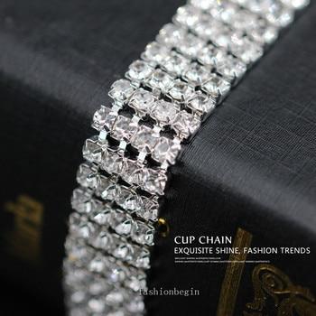 4 filas ss6 ss8 ss12 ss16 cinta de diamantes de imitación de cristal/banda de pastel de boda collar Trim silver close chain coser en la decoración de la ropa DIY