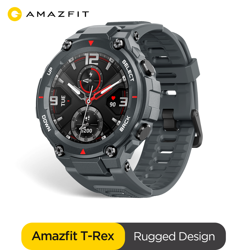 In stock 2020 CES Amazfit T-rex T rex Smartwatch 5ATM waterproof Smart Watch GPS GLONASS AMOLED Screen for iOS Android