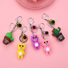 Direct manufacturers of PVC soft rubber glue cactus bear lady handbag stereo silicone key chain pendant