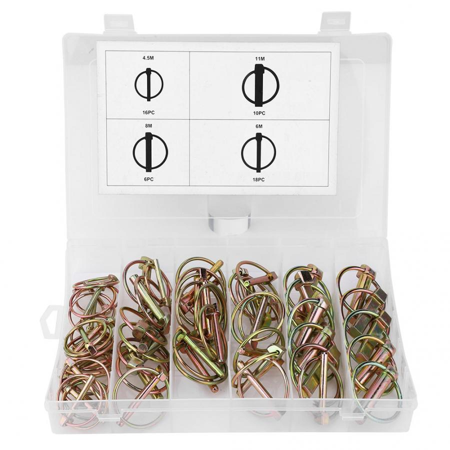 50pcs Lynch Pin Assortment Kit Steel Annular Safety Pin For Farm Tractor Trailer Tractor Locking Pin