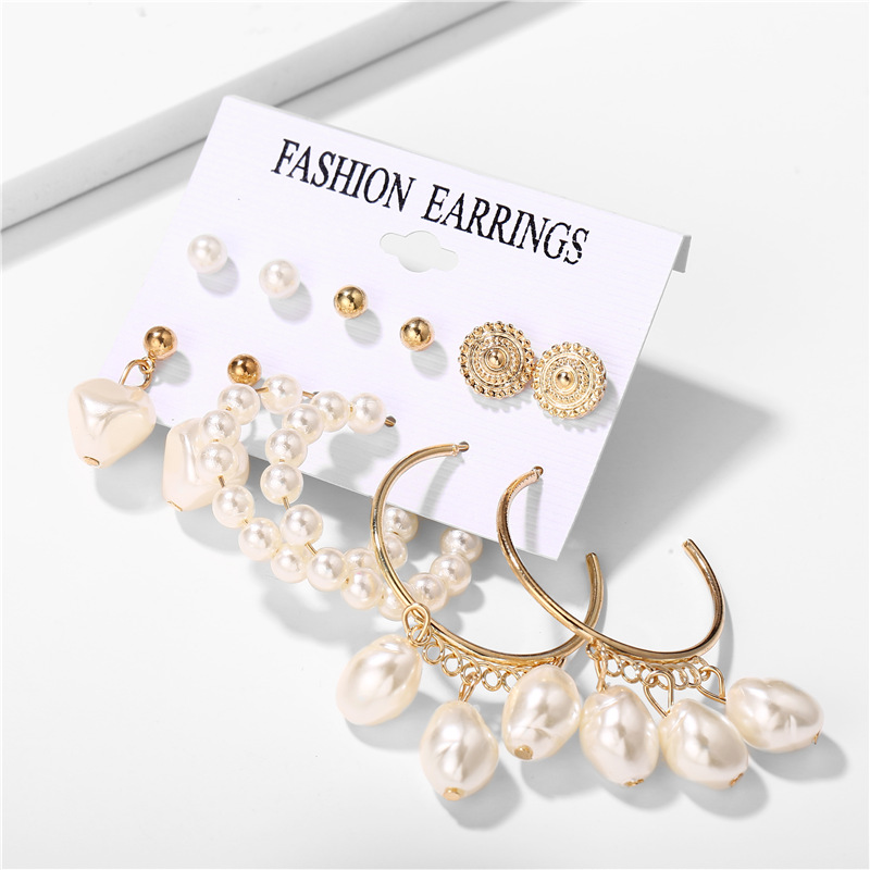 H00cf109bf5ae48aba6a53bb14f849a71y - IF ME Fashion Vintage Gold Pearl Round Circle Drop Earrings Set For Women Girl Large Acrylic Tortoise shell Dangle Ear Jewelry