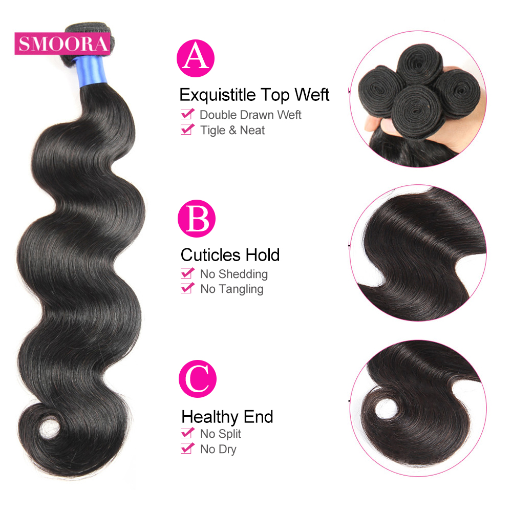 Body Wave Hair  Bundles with Lace Closure Natural Black  Bundle with Closure Baby Hair Non- Smoora 3