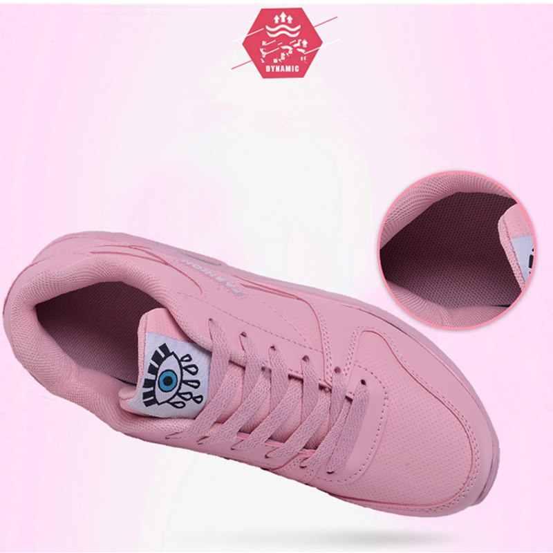 Kadın koşu ayakkabıları Pu deri moda ayakkabı hava yastığı spor ayakkabı beyaz pembe yürüyüş koşu ayakkabıları kadın eğitmenler