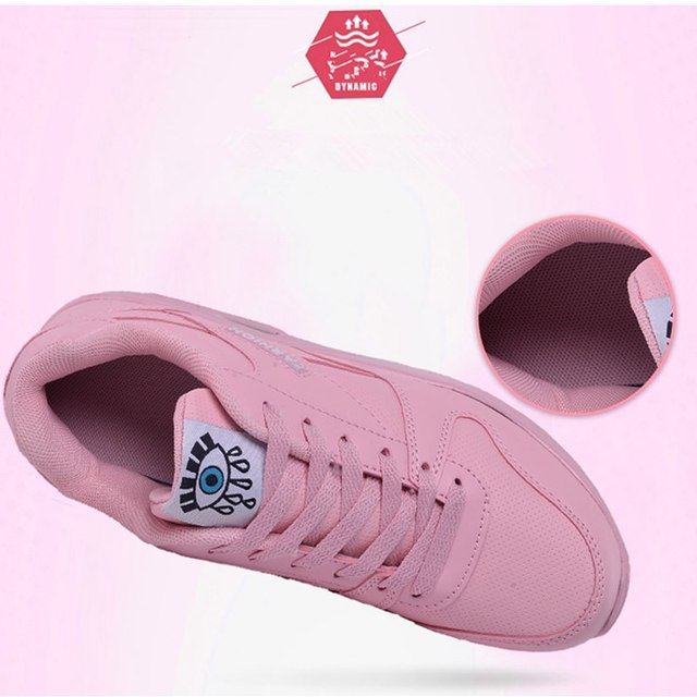 Women Running Shoes Pu Leather Fashion Sneakers Air Cushion Sports Shoes White Pink Walking Jogging Shoes