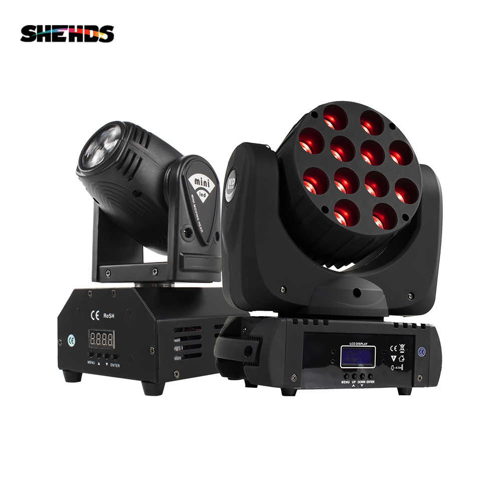 Kecapi DMX Panggung Lampu LED Moving Head LED Beam 12X12W RGBW Panggung Profesional DJ Mini LED 10W Spot Beam rumah Shehds