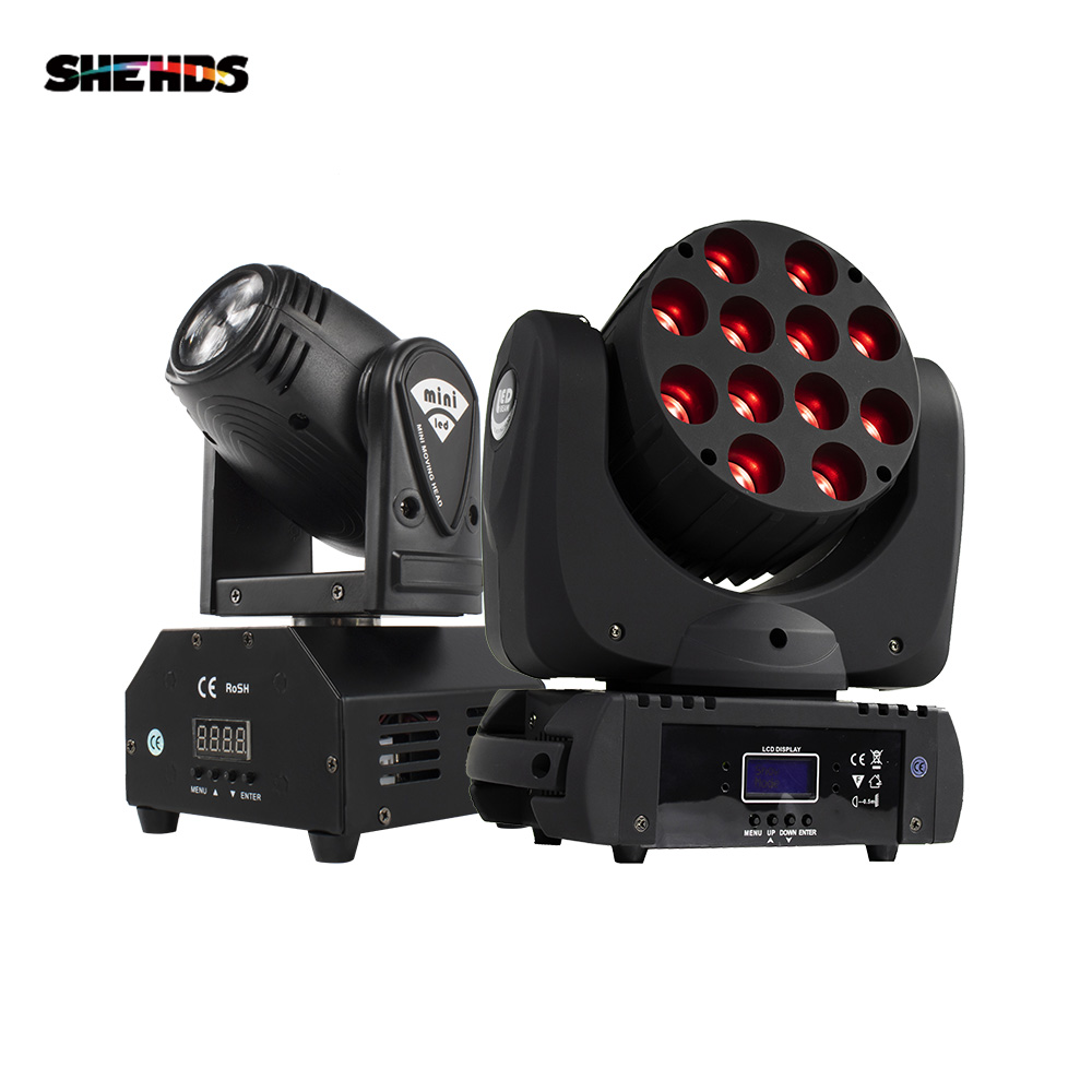 DJ Lyre DMX Stage Light LED Moving Head LED Beam 12X12W RGBW  Professional Stage DJ Mini LED 10W Spot Beam Home SHEHDS