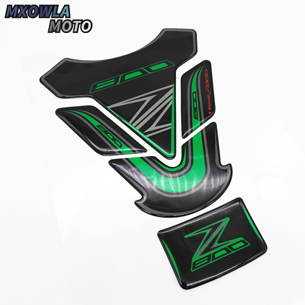 5 Layer Real Carbon Fiber 3D Green Sticker Vinyl Decal Emblem Protection Gas Tank Pad For Kawasaki All ZX6R