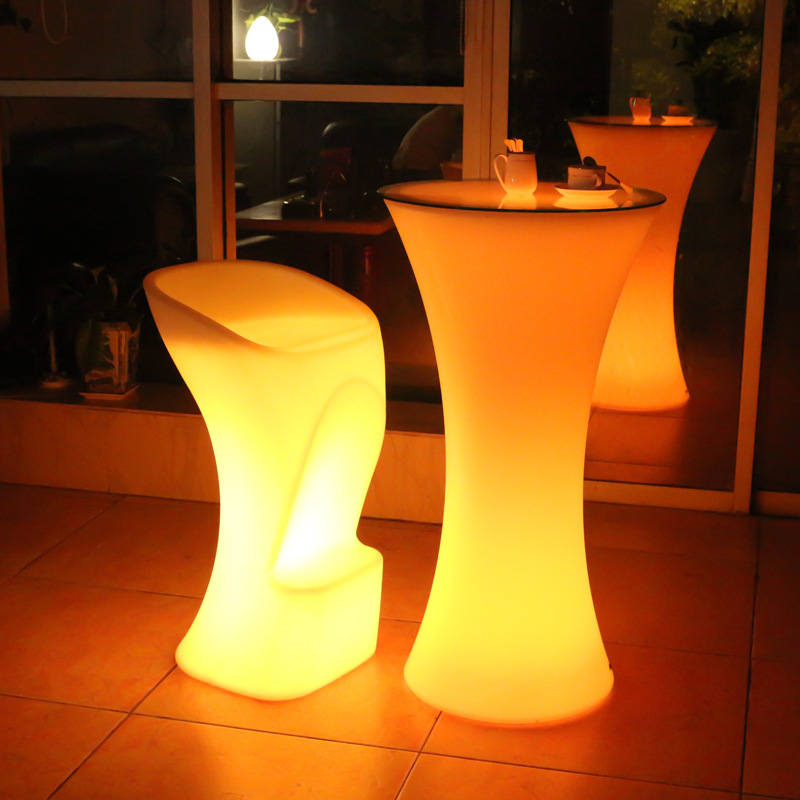 New LED Colorful Light Bar Chair Luminous Beauty Stool Rotomolding Luminous Furniture Bar Light Bar Stool Bar KTV Bar Chair