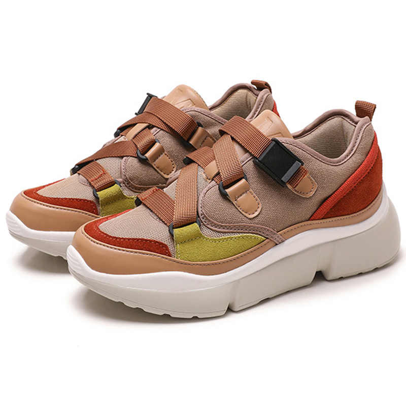 2019 printemps Style bout rond plate-forme grosses baskets papa chaussures vert noir jaune Basket Femme chaussures plates