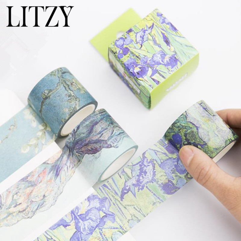 1 Pcs Van Gogh Washi Tapes DIY Painting Paper Masking Tape Decorative Adhesive Tapes Scrapbooking Kawaii Stickers Size 40mm*7m