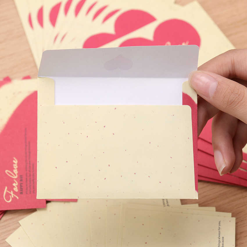 10PCS Paper Envelopes Vintage European Style Envelope Creative Love Heart Mini Small Envelopes For Card Scrapbooking Gift