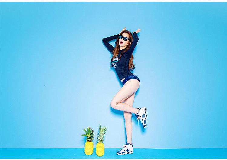 Maillot de bain de Style coréen femmes à manches longues Rush Guard maillot de bain crème solaire pantalon de peau de plongée Split surf costume flottant combinaison de plongée