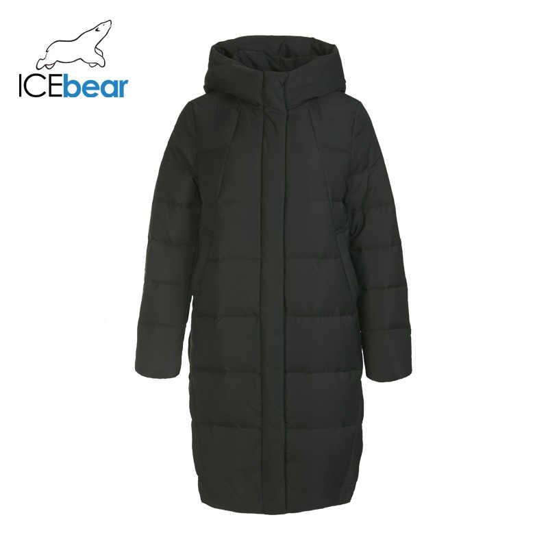 ICEbear 2019 nowy zimowy długi damski żakiet moda ciepła kurtka damska markowa bluza z kapturem odzież damska GN218123P