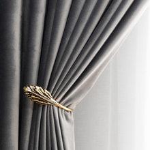 Luxury Gray Velvet Shading Velvet Modern Retro American French for Living Room Bedroom Blackout Curtains Tulle Custom