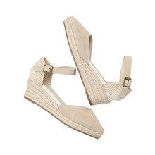 2021 novo topo cunhas genuíno aberto sólido sandálias sapato feminino elástico alpercatas cunha flatform casual sandália