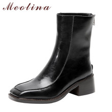 Meotina Women Short Boots Shoes Real Leather High Heel Ankle Boots Square Toe Thick Heels Zip Boots Female Autumn Black Size 40 prova perfetto autumn new arrived 2018 women zip knee boots look thin look tall hollow out temperament thick heels boots 34 40