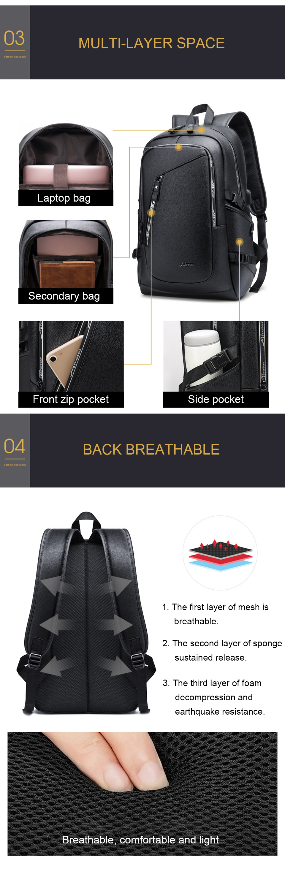 Fashion Smart Backpack Men Male Laptop 15.6 Student Backpacks School PU Leather Bagpack Waterproof Notebook USB Charging Bags (4)