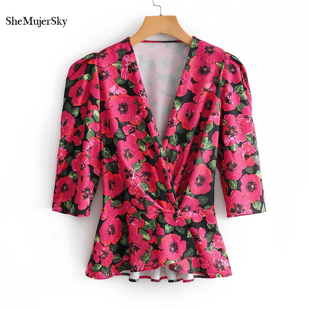 SheMujerSky été col en v imprimé Floral femmes chemise bohème hauts chemise femme nouveau 2019