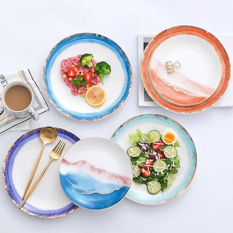 Or incrustation paysage brouillard assiettes en céramique assiettes Dessert plateau créatif Steak cuisine vaisselle décor à la maison plats assiettes