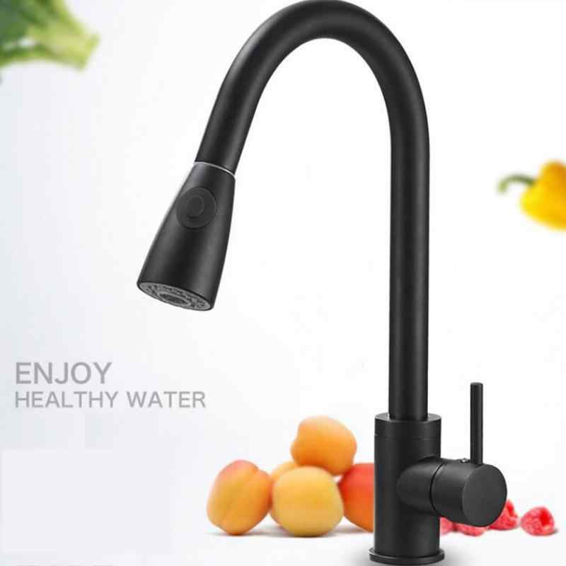 Handle Stream Sprayer Brushed Nickel Kitchen Faucet Mixer Durable Tap Sink Swivel Home Single Hole Pull Out Stainless Steel