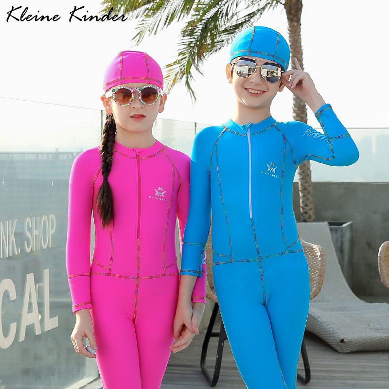 Toddler Girl Swimwear Children Swimming Suit for Boys Solid Long Sleeves One Piece Trainning Sports Swimsuit Child Bath Clothes