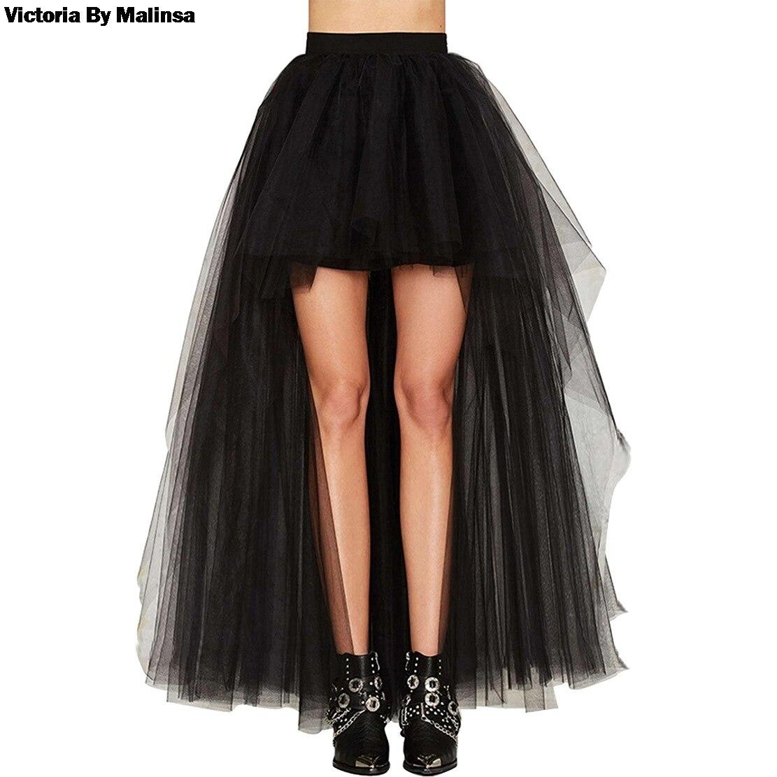 Women's Tulle Tutu Long Black Skirts Sexy Asymmetry Vintage Steampunk Skirts Women Long Burlesque Corset Skirt Black Plus Size