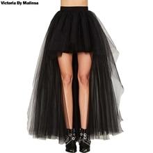Womens Tulle Tutu Long Black Skirts Sexy Asymmetry Vintage Steampunk Skirts Women Long Burlesque Corset Skirt Black Plus Size