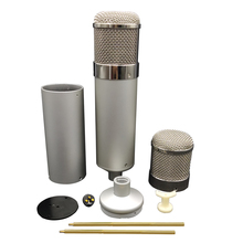 24CM HTT-U47 Big Silver Metal Microphone Body Large DIY 47 Condenser Mic Shell Shock with Mount Holder  Spray Mesh Guard