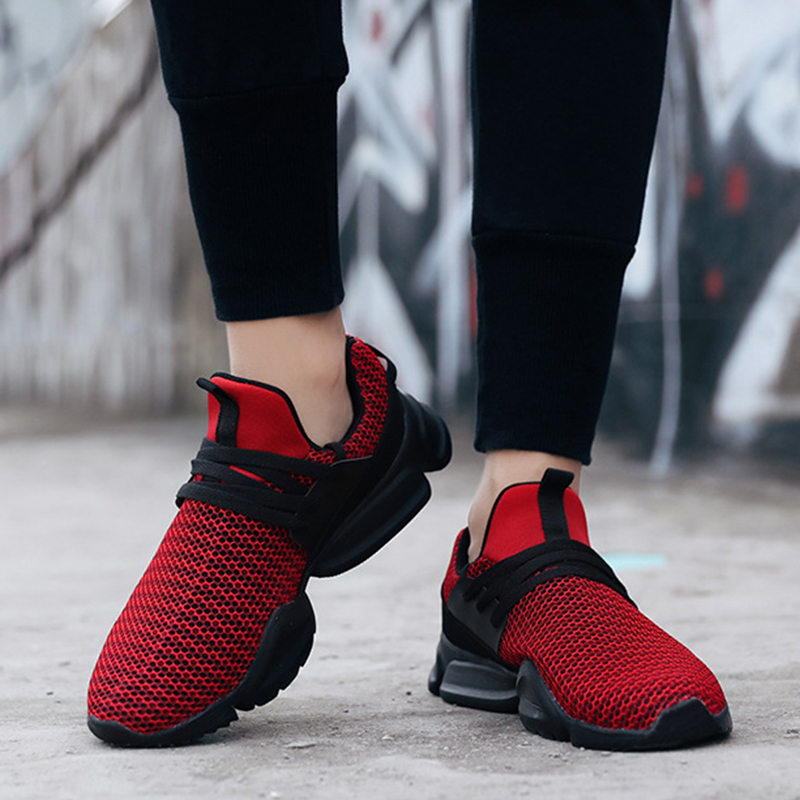 2019 Running Shoes For Men Air Mesh Sneakers Black White Male Outdoor Walking Sports Shoes Lace-up Athletic Trainers Breathable