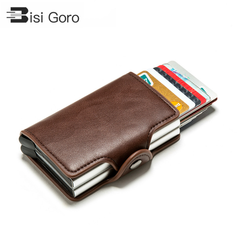 BISI GORO 2019 Smart Wallet Double Boxes Card Holder High Quality Metal Box RFID Blocking Anti-theft PU Leather Travel Money Bag