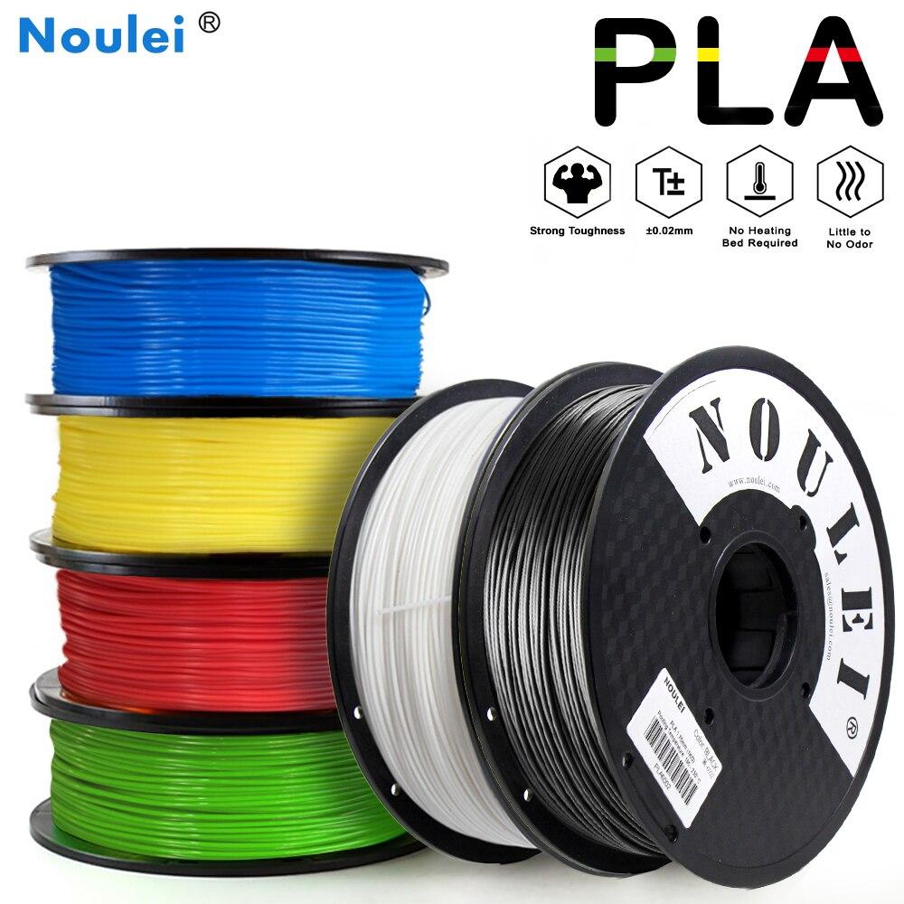 Noulei 3D 프린터 필라멘트 PLA 1.75mm 1KG 다채로운 고품질 플라스틱 인쇄 재료 6 색 흰색 검정색