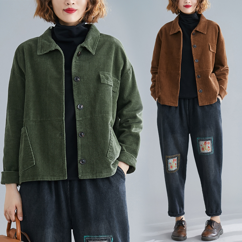 Corduroy Short Jacket Coat Women's 2020 Spring Autumn Vintage Pocket Loose Single-breasted Top Outerwear Baseball Clothes