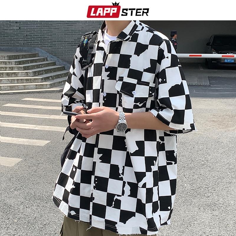 LAPPSTER Men Korean Plaid Shirts Short Sleeve 2020 Summer Women Harujuku Blouses Japanese Streetwear Hip Hop Button Up Shirts