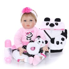 22 inch doll bebes reborn baby silicone boneca with cute Panda bag very beautiful reborn babies dolls toys for children Growth цена
