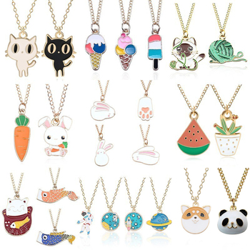 Cartoon Plant Animal Necklaces Pendants Enamel Mermaid Fox Cat Rabbit Planet Heart Necklace Women Girls Kids Jewelry Xmas Gifts image