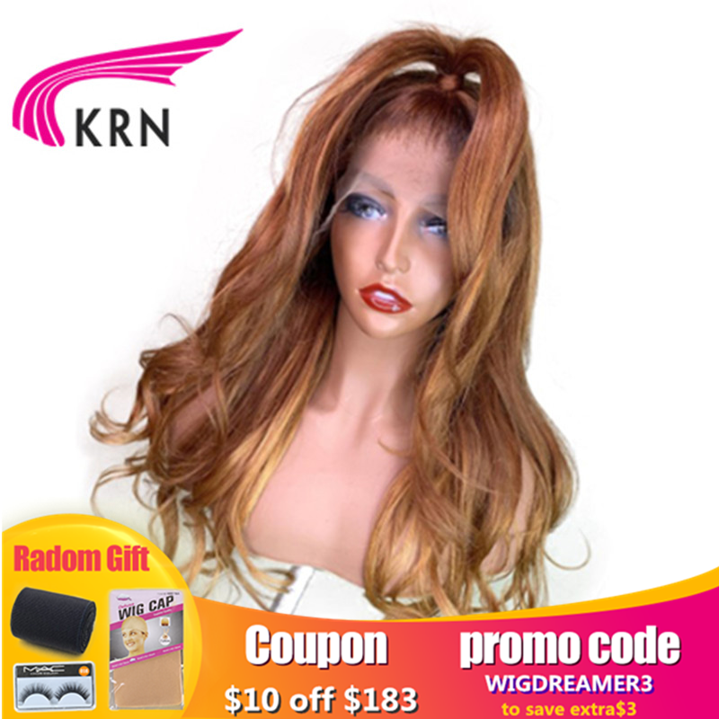 KRN Blonde Wavy 13X6 Lace Front Human Hair Wig Preplucked Lace Human Wigs Brazilian Remy Blond Wigs For  Women